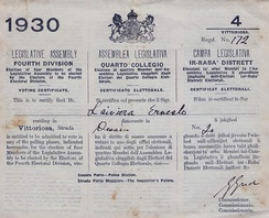 Tri-lingual voting document for the later cancelled 1930 elections in Malta