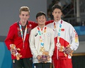 Still rings victory ceremony (from left to right): Félix Dolci (Silver), Takeru Kitazono (Gold), Yin Dehang (Bronze)