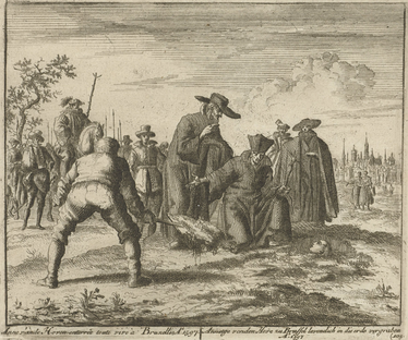 Jan Luyken's drawing of the Anabaptist nl:Anna Utenhoven being buried alive at Vilvoorde in 1597. In the drawing, her head is still above the ground and the priest is exhorting her to recant her faith, while the executioner stands ready to completely cover her up upon her refusal