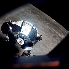 Lunar Module in lunar orbit on Apollo 10, May 22–23, 1969