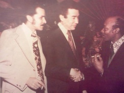 Arturo A. Germain, Herman Badillo and Sandy Amorós at a political convention in New York City 1974