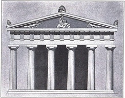 Proposed elevation of the Old Temple of Athena. Built around 525 BC, it stood between the Parthenon and the Erechtheum. Fragments of the sculptures in its pediments are in the Acropolis Museum.