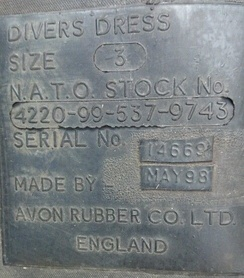 Avon military dry diving suit label