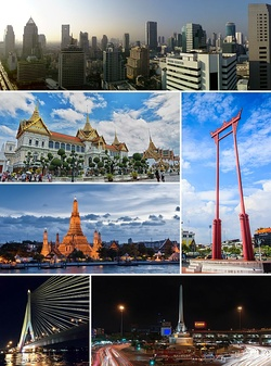 A composite image, consisting of the following, in clockwise fashion: a skyline with several skyscrapers; a tall gate-like structure, painted in red; a monument featuring bronze figures standing around the base of an obelisk, surrounded by a large traffic circle; a cable-stayed bridge with a single pylon on one side of the river it spans; a temple with a large stupa surrounded by four smaller ones on a river bank; and a stately building with a Thai-style roof with three spires