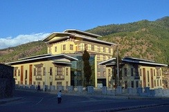 The Bhutan Power Corporation headquarters in Thimphu. Bhutan's principal export is hydroelectricity.