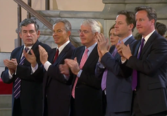 Cameron with his predecessors Gordon Brown, Tony Blair and John Major, and deputy Nick Clegg, during Barack Obama's address to Parliament, 10 June 2011