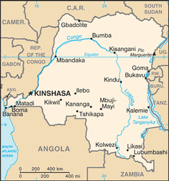 The map of Democratic Republic of Congo