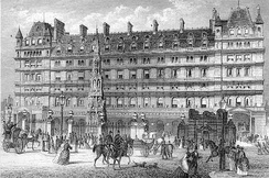 The front entrance of Charing Cross station in a 19th-century print. The Charing Cross is in front of the Charing Cross Hotel, now an Amba hotel.