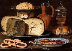 Clara Peeters - Still Life with Cheeses, Almonds and Pretzels, 1685