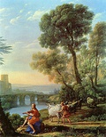 Claude Lorrain, Landscape with Apollo Guarding the Herds of Admetus and Mercury stealing them (1645).