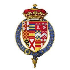 Arms of Sir George Villiers, 1st Duke of Buckingham, KG, as they were quartered on his stall plate and banner within St. George's Chapel