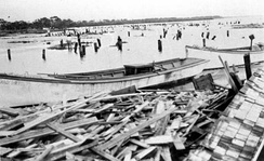 Cortez's docks and fish houses after the Hurricane of 1921. Image courtesy of Manatee County Public Libraries.