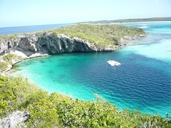 Dean's Blue Hole in Clarence Town on Long Island, Bahamas.