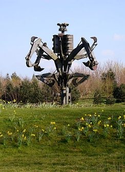 The Fossor (1979) by Walenty Pytel, made from parts of JCB vehicles, at the headquarters in Rocester