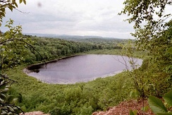View of Snake Pond and the Westfield countryside from East Mountain