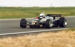 De Angelis driving for Lotus at the 1981 British Grand Prix.