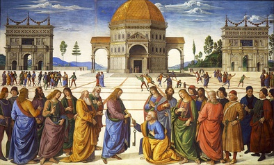 Pietro Perugino's use of perspective in Delivery of the Keys (1482), a fresco at the Sistine Chapel