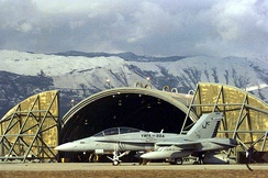 A US Marine Corps F/A-18 prepares for a mission in Bosnia in December 1995.