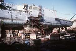 In 1988, an Iranian M-08 mine made a 25-foot (8 m) hole in the hull of the frigate USS Samuel B. Roberts, forcing the ship to seek temporary repairs in a dry dock in Dubai, UAE.