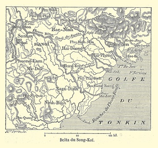 1894 map of Red River Delta in French protectorate of Tonkin.