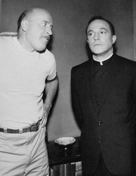 Fred Clark (in a guest role) and Gene Kelly (as Father O'Malley) in an episode of the TV adaptation.