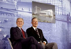 George W. Bush and George H. W. Bush in Beijing, 2008