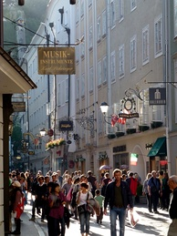 View of shoppers on Getreidegasse, which is one of the oldest streets in Salzburg