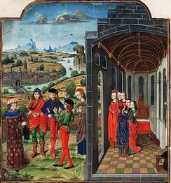 Giovanni Boccaccio and Florentines who have fled from the plague