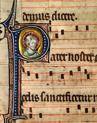 Music notation from an early 14th-century English Missal, featuring the head of Christ. Catholic monks developed the first forms of modern European musical notation in order to standardize liturgy throughout the worldwide Church.[39]
