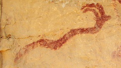 A Horned Serpent in a Barrier Canyon Style pictograph, Western San Rafael Swell region of Utah.