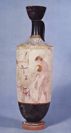 Hypnos and Thanatos carrying the body of Sarpedon from the battlefield of Troy; detail from an Attic white-ground lekythos, c. 440 BC.
