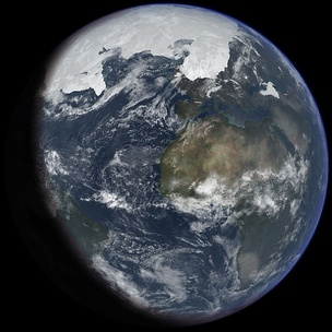 Artist's impression of the last glacial period at glacial maximum[4]
