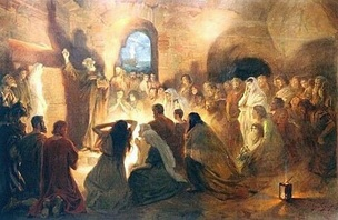 St. Peter Preaching the Gospel in the Catacombs by Jan Styka