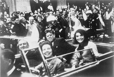 The Kennedys and the Connallys in the presidential limousine moments before the assassination in Dallas.