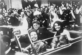 The Kennedys and the Connallys in the presidential limousine moments before the assassination in Dallas