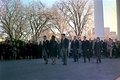 Jacqueline Kennedy, accompanied by her brothers-in-law, Attorney General Robert F. Kennedy and Senator Edward Kennedy, walking from the White House as part of the funeral procession accompanying President Kennedy's casket to Cathedral of St. Matthew the Apostle in Washington D.C. on November 25, 1963.