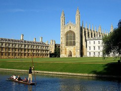 King's College (right) and Clare College (left), both part of the University of Cambridge, which was founded in 1209