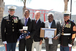 Rohrabacher with Larry Elder and Kirk Elder accept Congressional Gold Medal on behalf of Staff Sgt. Randolph Elder
