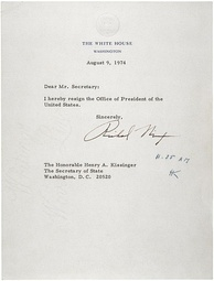 Richard Nixon's Resignation Letter to his Secretary of State, August 9, 1974