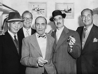The five brothers, just prior to their only television appearance together, on the Tonight! America After Dark, hosted by Jack Lescoulie, February 18, 1957; from left: Harpo, Zeppo, Chico, Groucho and Gummo