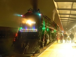 Milwaukee Road 261 decorated as the North Pole Express in 2014 at St. Paul Union Depot
