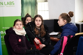 Elementary schoolgirls from OIC member state Albania pictured during Code Week 2017 in Burrel, near Tirana. Between 2009 and 2015, Albania saw consistent and substantial improvements in all three PISA subjects.[55]