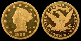 Each of the five remaining design types: (1) 1839 Liberty Head (old), (2) 1865 Liberty Head (new), (3) 1866 Liberty Head (new, motto), (4) 1907 Indian Head (no motto), and (5) 1908 Indian Head (motto)