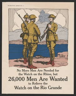 Poster recruiting men to serve in the US Army along the Rio Grande