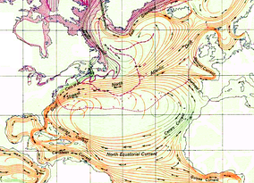 The Sargasso Sea in the North Atlantic is bounded by the Gulf Stream on the west, the North Atlantic Current on the north, the Canary Current on the east, and the North Equatorial Current on the south.
