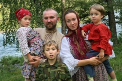 Siberian Cossack family in Novosibirsk