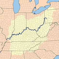 Drainage basin of the Ohio River, part of the Mississippi River drainage basin