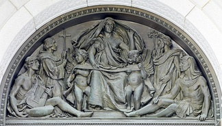 Olin Levi Warner, tympanum representing Writing, above exterior of main entrance doors, Thomas Jefferson Building, Washington DC, 1896.