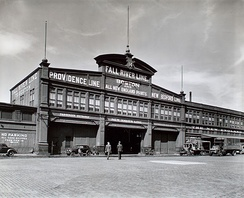 The Fall River Line's Ferry depot at Pier 14 on the Hudson River, 1938