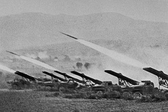 A battery of M-13 Katyusha launchers firing at enemy targets, 1943